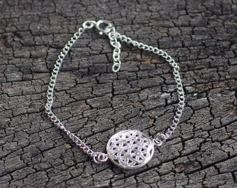 Flower of Life Bracelet, 925 Sterling Silver Bracelet, Geometric Bracelet, Sacred Geometry, Jewelry for Women, Gift for her - MI.21