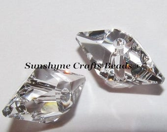 Swarovski Crystal Beads 2Pcs 5747 CRYSTAL CLEAR 12X6mm Faceted Double Spiked Bead
