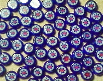 Millefiori glass beads;  red white blue Millefiori, smooth glass coins, approximately 5x2.5mm, 14pcs/3.00.