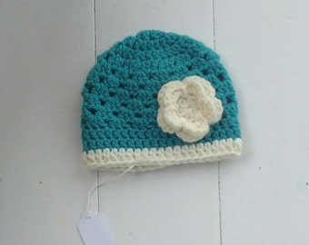 Winter crochet hat, photography prop, Baby girl hat, toddler hat, baby hat, hat with flower, turquoise hat, cream hat