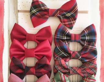 SALE!! Holiday hair bows - Red plaid hair bows - red tartan bows-tuxedo bow- fabric headband on nylon elastic-royal stewart tartan bow