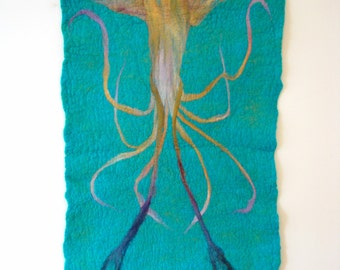 Kraken Wall Hanging, Felted Squid Wall Hanging, Fine Art, Kraken Artwork, Squid Artwork, Felt Wall Hanging, Felt Artwork, Nautical Artwork