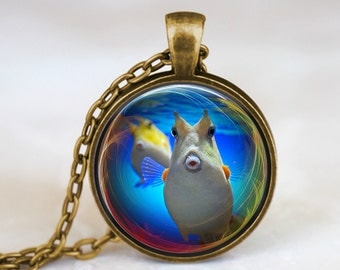 longhorn cowfish eyefish handmade pendant necklace