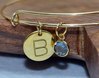 Gold Plated Sterling Silver bangle with Initial disc and Swarovski birthstone, initial bangle, birthstone bangle