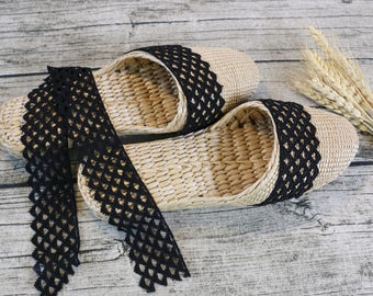 Exquisite Women's slippers with wide black lace/rustic handwoven shoes/Wholesales bulk/wedding gift/house shoes/GrasShanghai