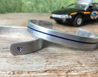Thin blue line bracelet - blue lives matter - back the blue - police wife - police family - deputy - state trooper (1)