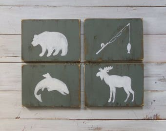 Hunting and Fishing Nursery Decor, Woodland Nursery Decor, Mountain Themed Nursery Decor, Hunting Nursery Sign, Rustic Nursery