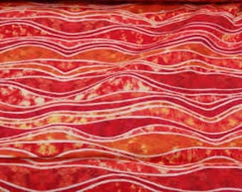 EBI Fabrics Polynesian Waters in Rosy; 1/2 yard;  woven cotton fabric; Pattern QT1545 color 979