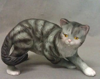 Grey and Beige Cat with Yellow Eyes Pink Ears Nose and Mouth Cat Figurine