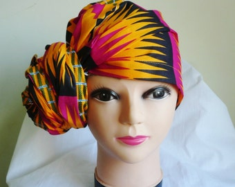 Orange and Fuchsia Kente Print Ankara Head wrap, DIY head tie, Stylish African head scarf, Fabric hair accessory – Made to Order
