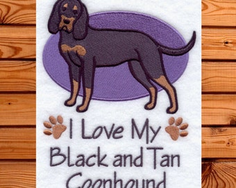 I Love My Black and Tan Coonhound- Love My Black and Tan- Love My Coonhound- I Love My Dog- Custom Dog Towel- Dog Gift- Gift for Dog Lover