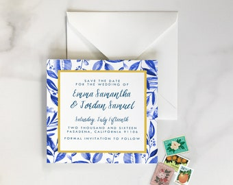 Mediterranean Save the Dates, Spanish Save the Date, Mediterranean Leaves Save the Date - Blue Leaves, Green Leaves, Rustic - DEPOSIT