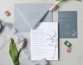 Elegant Invitation, Calligraphy Invitation, Rustic Invitation, Olive Sprig Invitation, Hand-Drawn Invitation, Classic Suite - DEPOSIT
