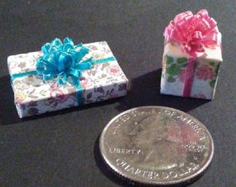 2 Miniature Presents For Your Dollhouse - FREE US Shipping!!!!!
