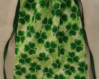 Drawstring bag/St. Patrick's day/clovers/Green