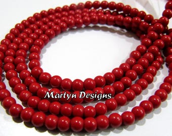1 Strand of Smooth Round Red Coral Beads ,Best Quality Coral Plain Beads , 3-4mm Size Ball Shape Beads , Length 13 inch long, Wholesale Rate