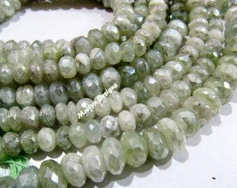 Exclusive Quality Genuine Prehnite Beads 7-8mm  , Rondelle Faceted Mystic Coated Prehnite Beads , Strand 14 inch long , AB Coated Gemstones.