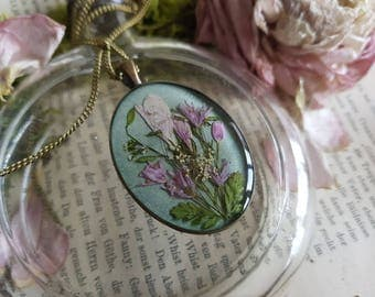 Real flowers Botanical Flower chain necklace nostalgia bouquet of wild flowers