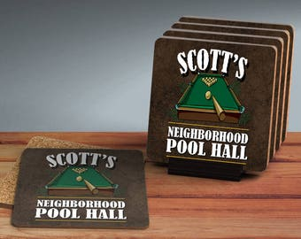SET OF FOUR Custom Drink Coasters for Man Cave/Home Bar Personalized Coaster Set Traditional Wood Pool Hall Game Room Decor Coasters Gift