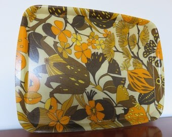 plateau pattern typical psychedelic flowers 1970 fiberglass 70s mid century french vintage tray