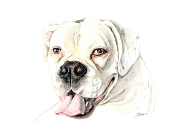 dog portrait, 5x7 inch, watercolor, gift, for boyfriend, girlfriend, birthday gift