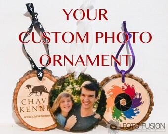 Custom Photo Christmas Ornament - Wood Ornament Photo Transfer Christmas Tree Ornament, great gift or gift tag!