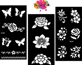 3 in 1 Stencils for Henna and Glitter temporary tattoo body art