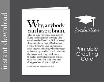 Graduation Card, Graduation Printable, printable card, funny graduation, Wizard of Oz, high school grad, college graduation, brain quote