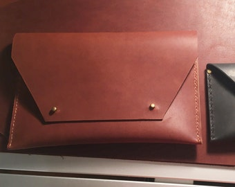 Medium Brown Leather Clutch