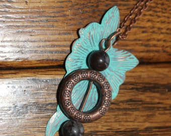 copper patina leaf charm necklace