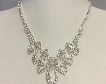 Rhinestone Bridal Necklace Set, V Necklace, Wedding Necklace for Bride, Bridesmaid jewelry, Bridesmaid Gift, Prom Jewelry 747-20130