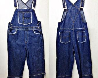 DENIUM OVERALLS, Vintage distressed Jean bib overall,romper,jumpsuit size