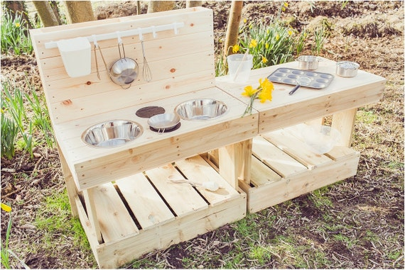 My MUD Kitchen & Workbench Duo Outdoor Wooden Play Kitchen