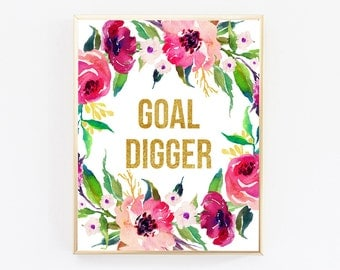 Goal Digger, Office Desk Accessories For Women, Motivational Wall Decor, Office Decor, Digital Downloads, Top Selling Shops, Quote Prints