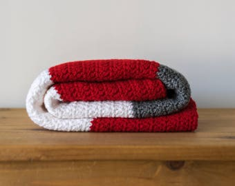 Ohio State Buckeyes Crocheted Color Block Baby Blanket