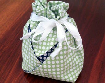 Cotton Origami Drawstring Bag, Gift Bag, Makeup Bag