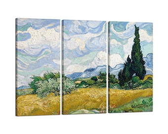 Painting on canvas with Vincent Van Gogh's Wheat Field with Cypresses Tris Frame