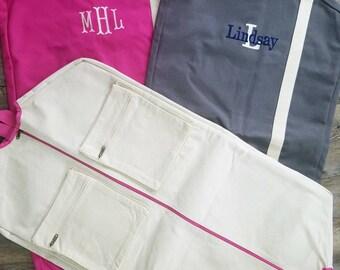 Monogrammed Garment Bag. Personalized Garment Bag. Embroidered Garment Bag. Travel Clothes Bag. Monogram Canvas Garment Bag - MBW01