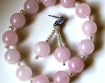 Rose Quartz and Pearl Bead Earrings & Bracelet