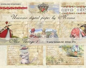 ALICE IN WONDERLAND, Cheshire Cat, Queen of Hearts, Carta digitale, digital paper, Craft, Carte per scrapbook, Sfondi, vintage, wallpaper,