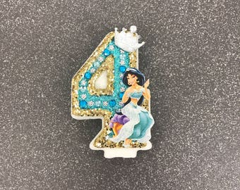 """Handcrafted """"Jasmine"""" or ANY Themed Birthday Candles- Decorated To Your Liking"""