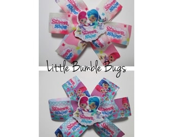 Baby/Toddler/Girl/Adult 3.5 Inch Pinwheel Hair Bows on Lined Alligator Clip - Shimmer and Shine