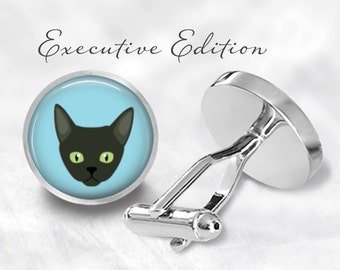 Devon Rex Cat Cufflinks - Devon Rex Cufflinks - Cat Cuff Links (Pair) Lifetime Guarantee (S0890)