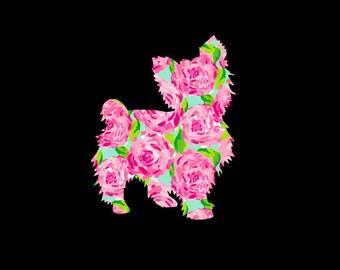 Yorkie, Yorkshire Terrier Preppy Patterned Vinyl Decal, Car Decal, Pattern Dog, Vinyl Decal, Puppy