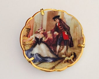 Limoges Brooch, Hand Painted Porcelain, Trombone Clasp, French Pin, Vintage, Limoges France, Young Couple Scene, Scalloped Edge, 1 7/8""