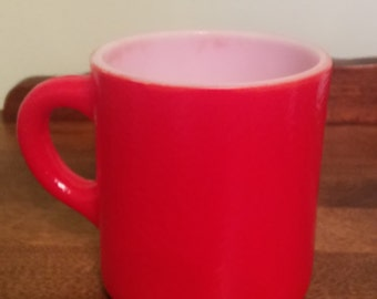 "3 1/4"" tall red milk glass mug"