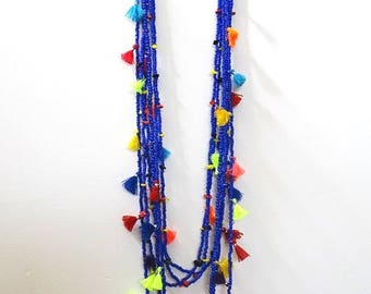 FREE SHIPPING! Necklace/Tassel & bead twin Long Blue necklaces/Trending jewellery/Boho necklace/seed bead long necklace/Beach jewellery