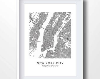 New york blueprint etsy new york map new york city art new york printable new york blueprint malvernweather Image collections