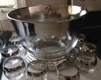Vintage punch bowl set with silver trim