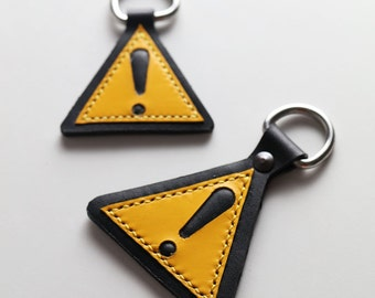 Caution Sign Key Ring